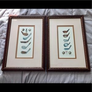 Set of Double Matted Golf Drawings